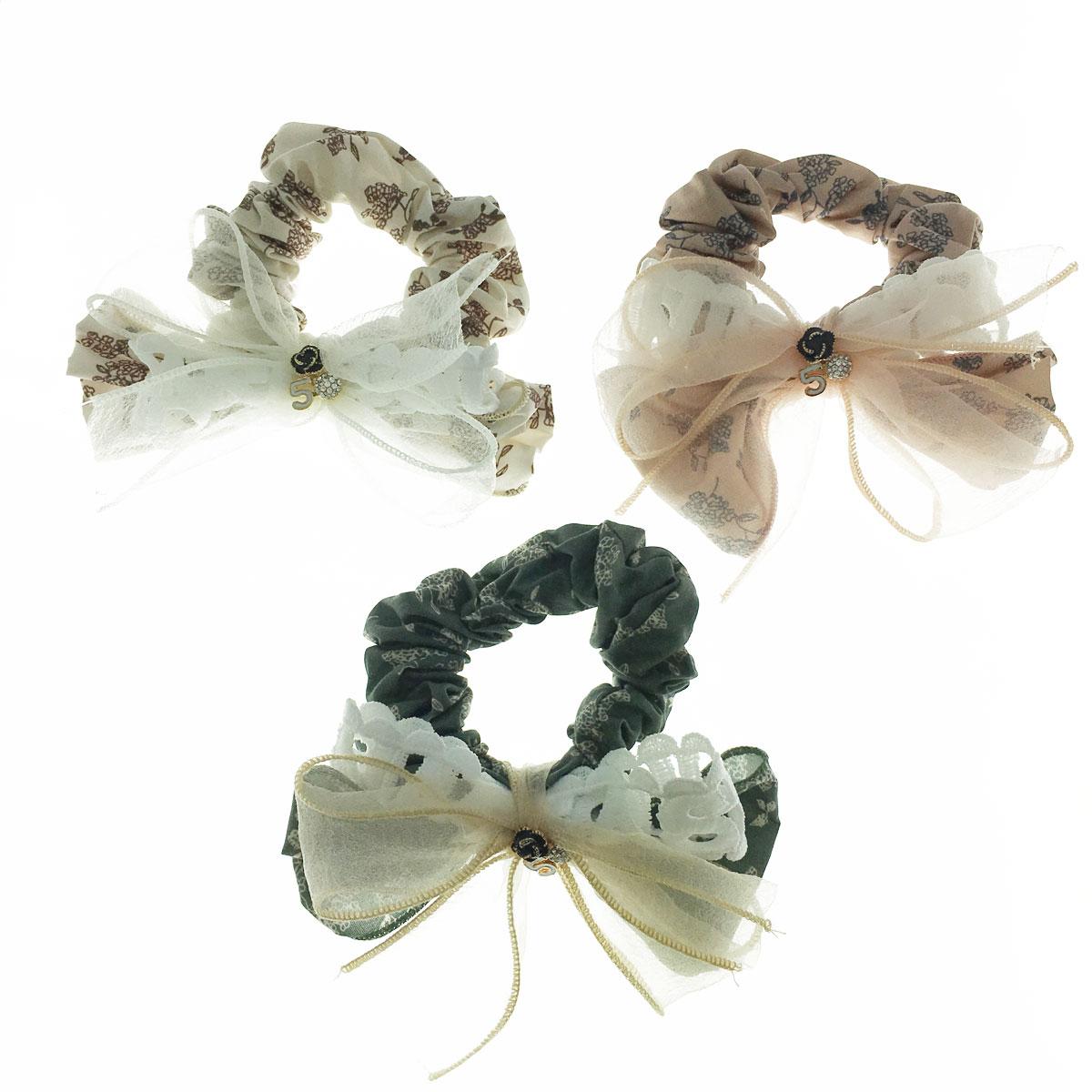 韓國 小香風 水鑽 花5 蝴蝶結 英文 簍空 紗 三色 大腸圈 髮飾