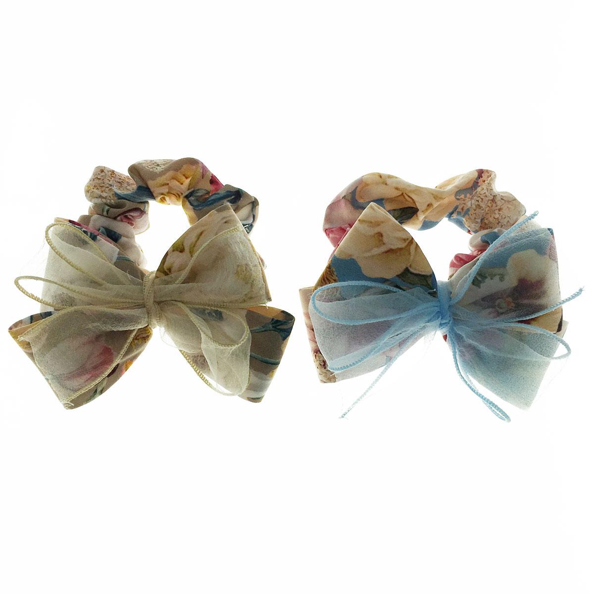 韓國 花朵 蝴蝶結 紗 兩色 大腸圈 髮飾