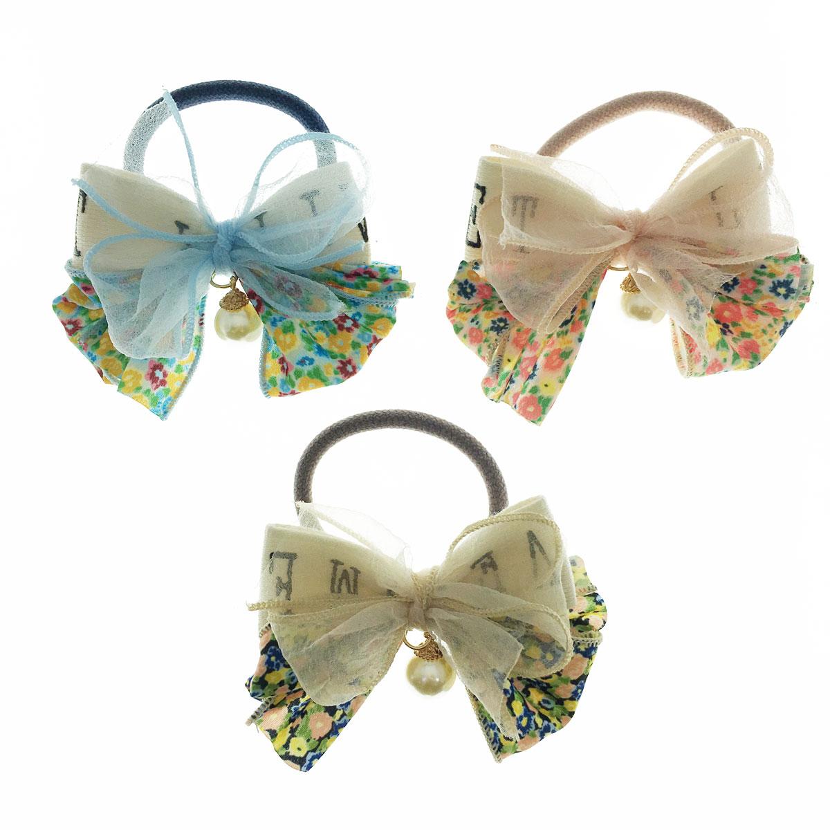 韓國 蝴蝶結 珍珠 紗 花朵 英文 三色 髮束 髮飾