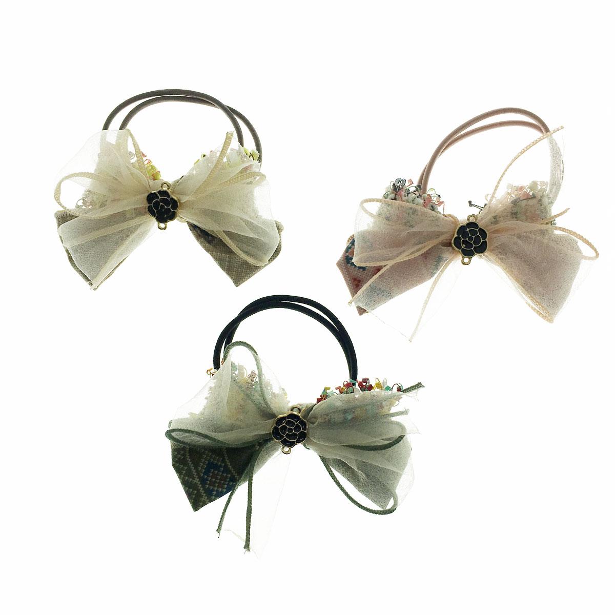 韓國 蝴蝶結 小香風 花朵 格子 三色 髮束 髮圈