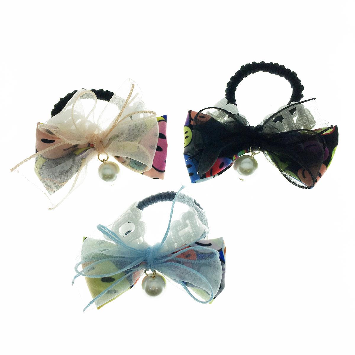 韓國 珍珠 蝴蝶結 紗 微笑 笑臉 英文 三色 髮束 髮圈
