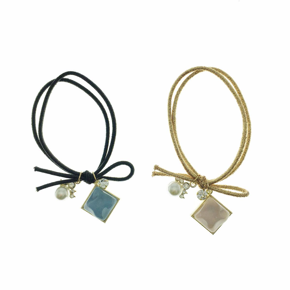 韓國 水鑽 珍珠 方形 兩色 髮束 髮飾