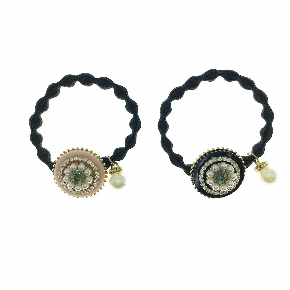 韓國 珍珠 水鑽 金邊 兩色 髮束 髮飾