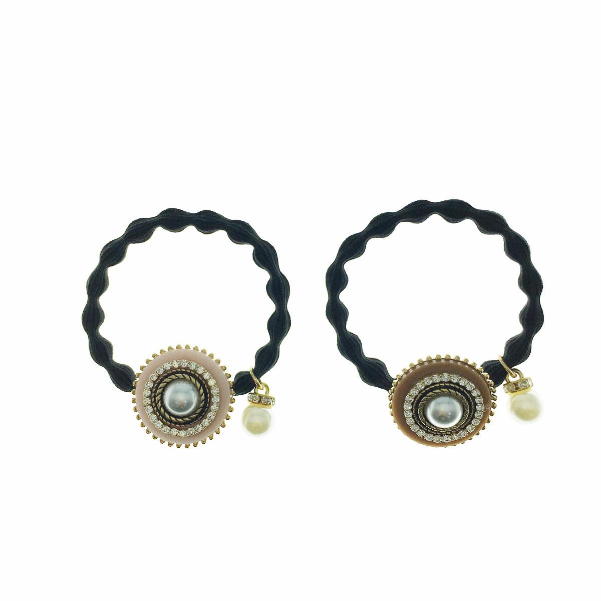 韓國 水鑽 珍珠 金邊 兩色 髮束 髮飾