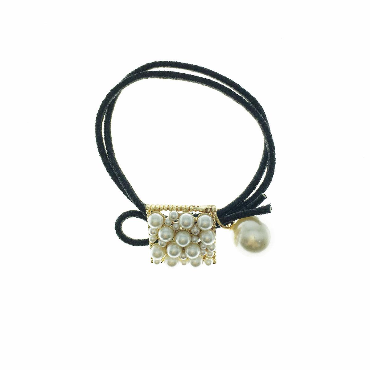韓國 珍珠 方形 簍空 髮束 髮飾