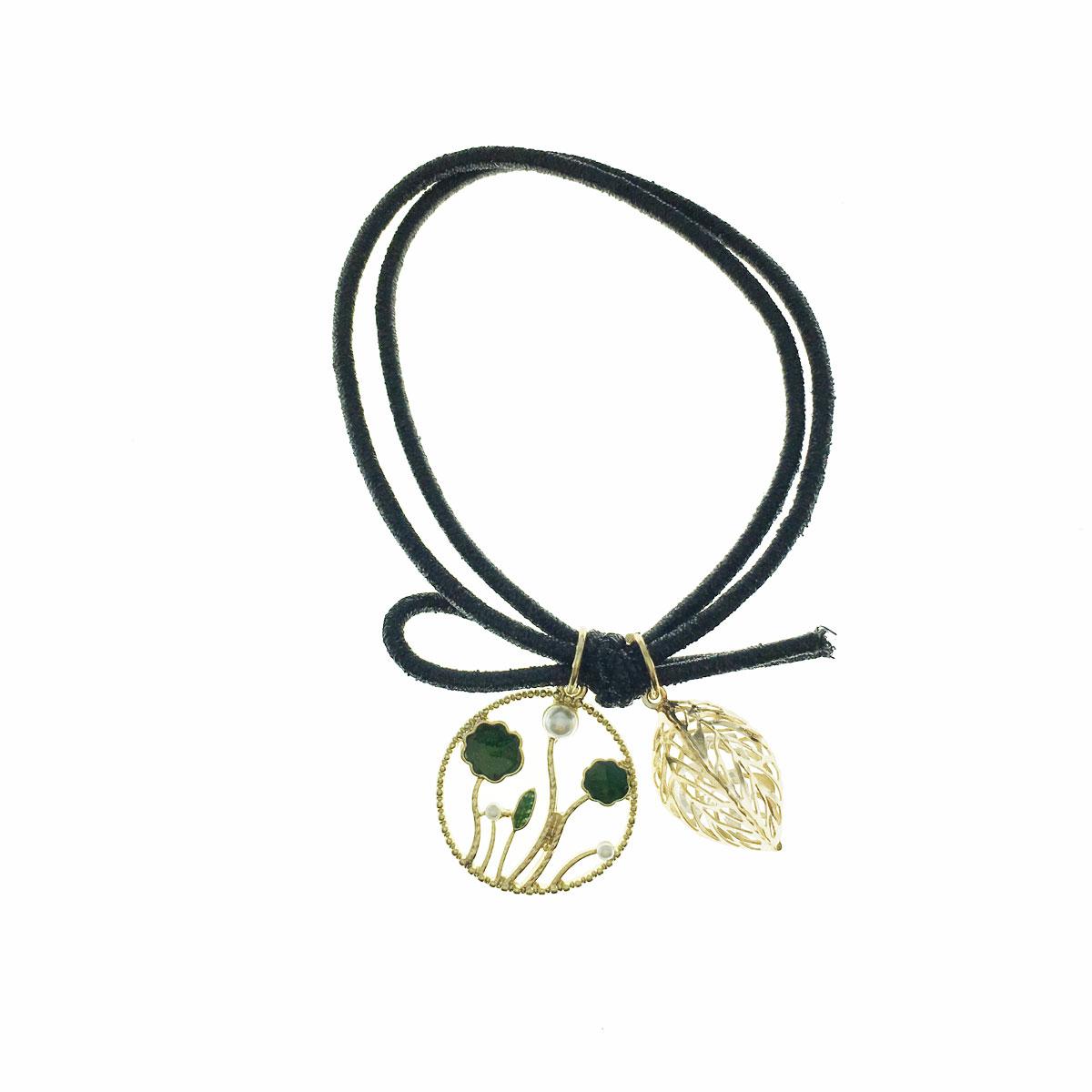 韓國 珍珠 水鑽 葉子 立體 簍空 髮束 髮飾