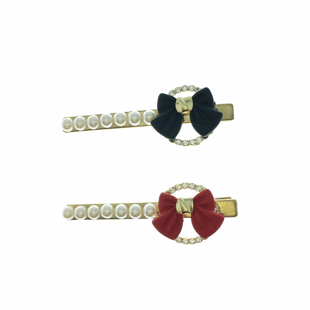 韓國 水鑽 珍珠 蝴蝶結 壓夾 髮飾