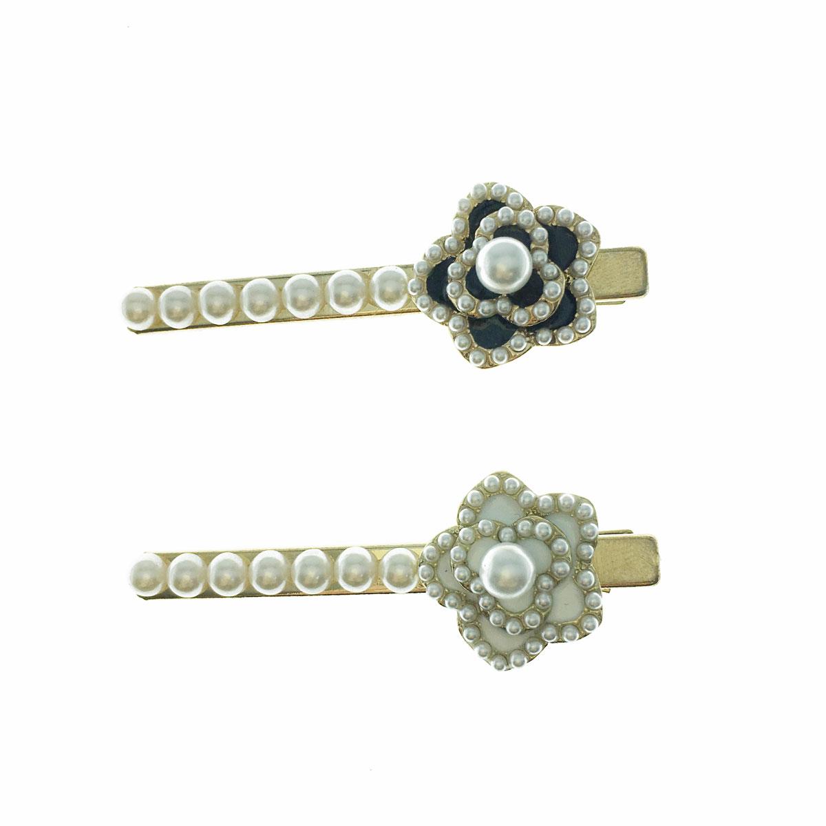 韓國 珍珠 小香風 兩色 壓夾 髮飾