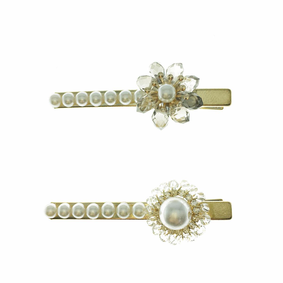 韓國 珍珠 串珠 壓夾 兩色 髮飾