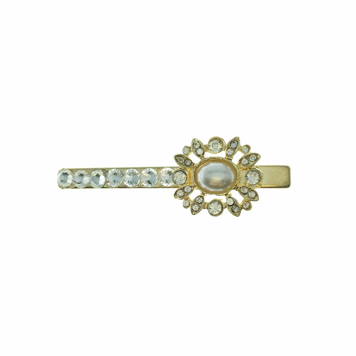 韓國 水鑽 珍珠 簍空 壓夾 髮飾