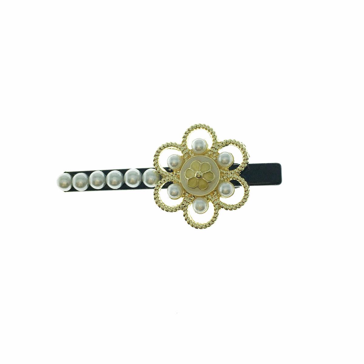 韓國 珍珠 花朵 簍空 壓夾 髮夾 髮飾
