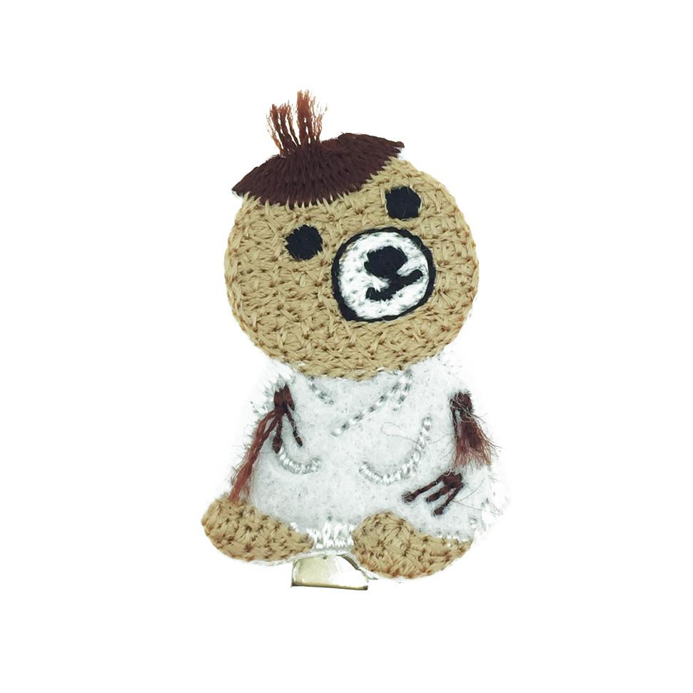韓國 熊 燙布 髮飾 髮夾 壓夾