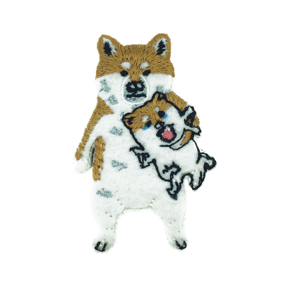 韓國 柴犬 狗 燙布 髮夾 壓夾