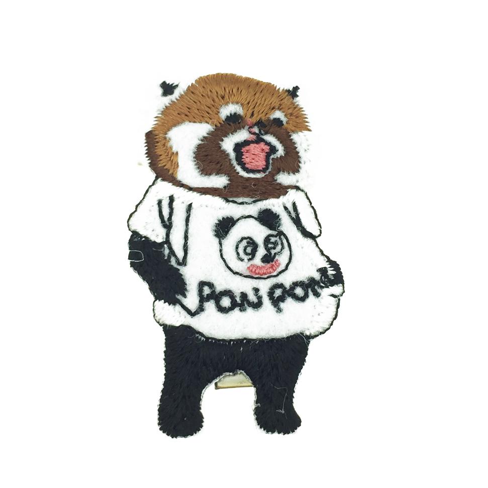 韓國 熊貓 可愛動物 燙布 髮飾 壓夾