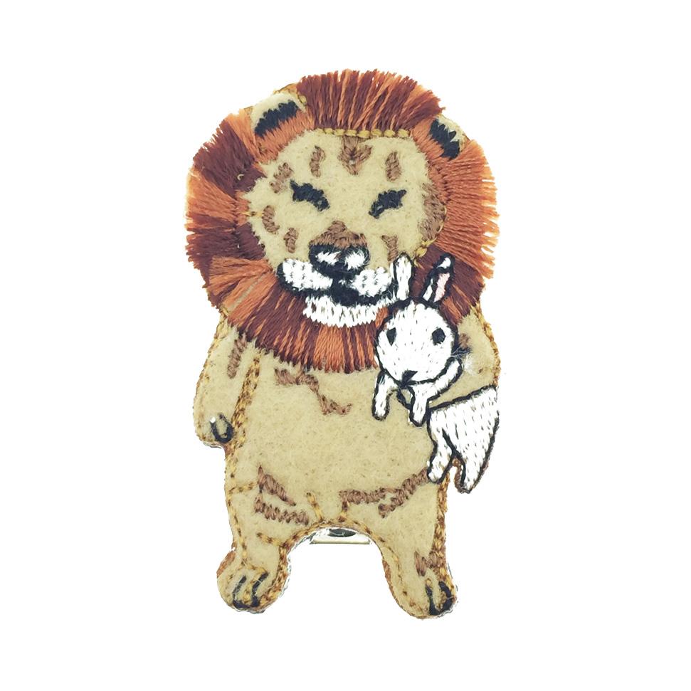 韓國 獅子 兔子 燙布 髮飾 髮夾 壓夾