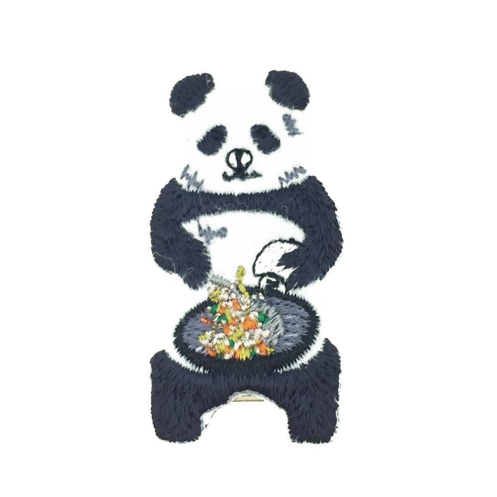 韓國 熊貓 燙布 貓熊 髮飾 髮夾 壓夾