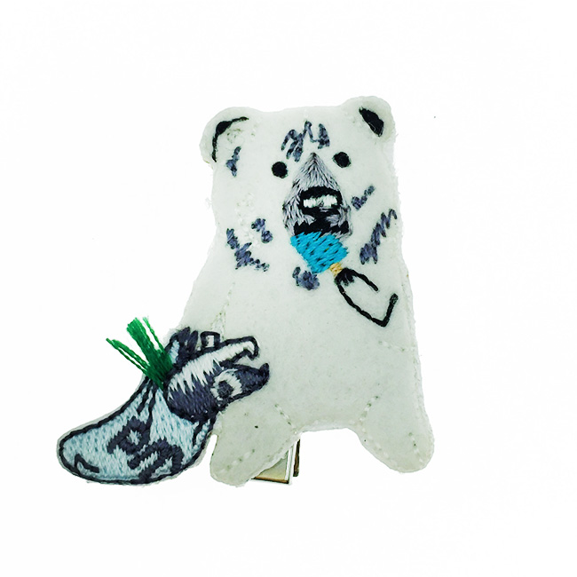 韓國 白熊 燙布 髮飾 髮夾 壓夾