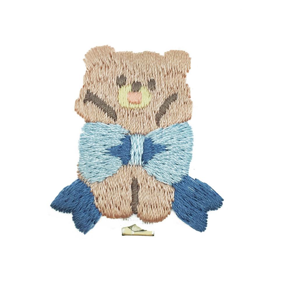 韓國 熊 蝴蝶結 燙布 髮飾 髮夾 壓夾