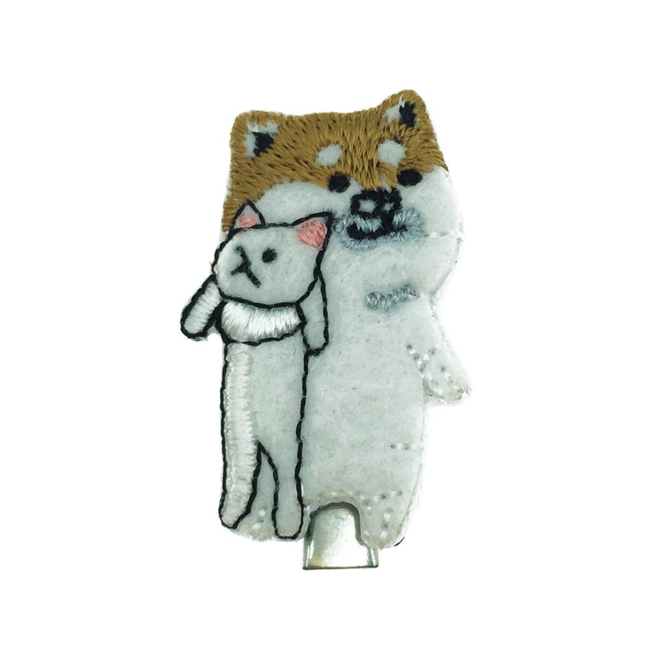 韓國 柴犬 髮飾 燙布 狗 壓夾