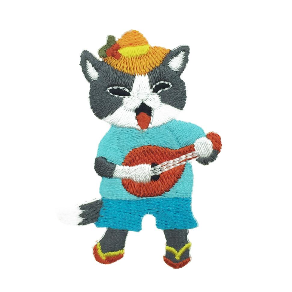 韓國 貓咪 燙布 彈吉他 別針