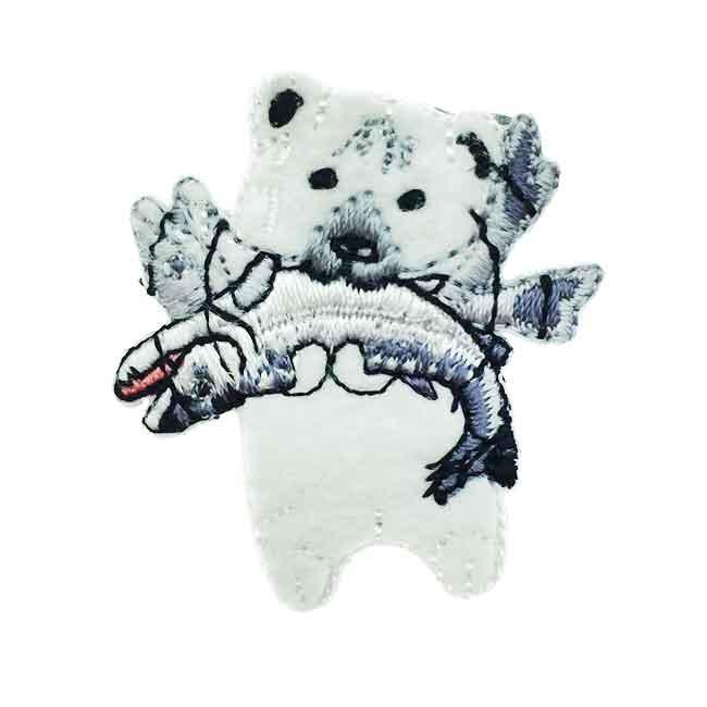 韓國 燙布 白熊 魚 衣帽針 別針