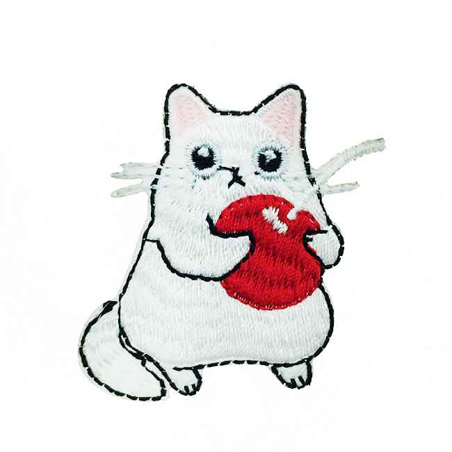 韓國 燙布 白色貓咪 衣帽針 別針