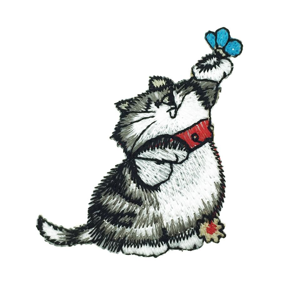 韓國 貓咪 燙布 胸帽針 別針