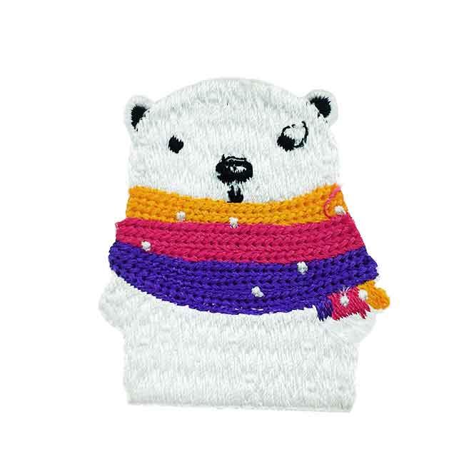 韓國 燙布 白熊 圍巾 別針