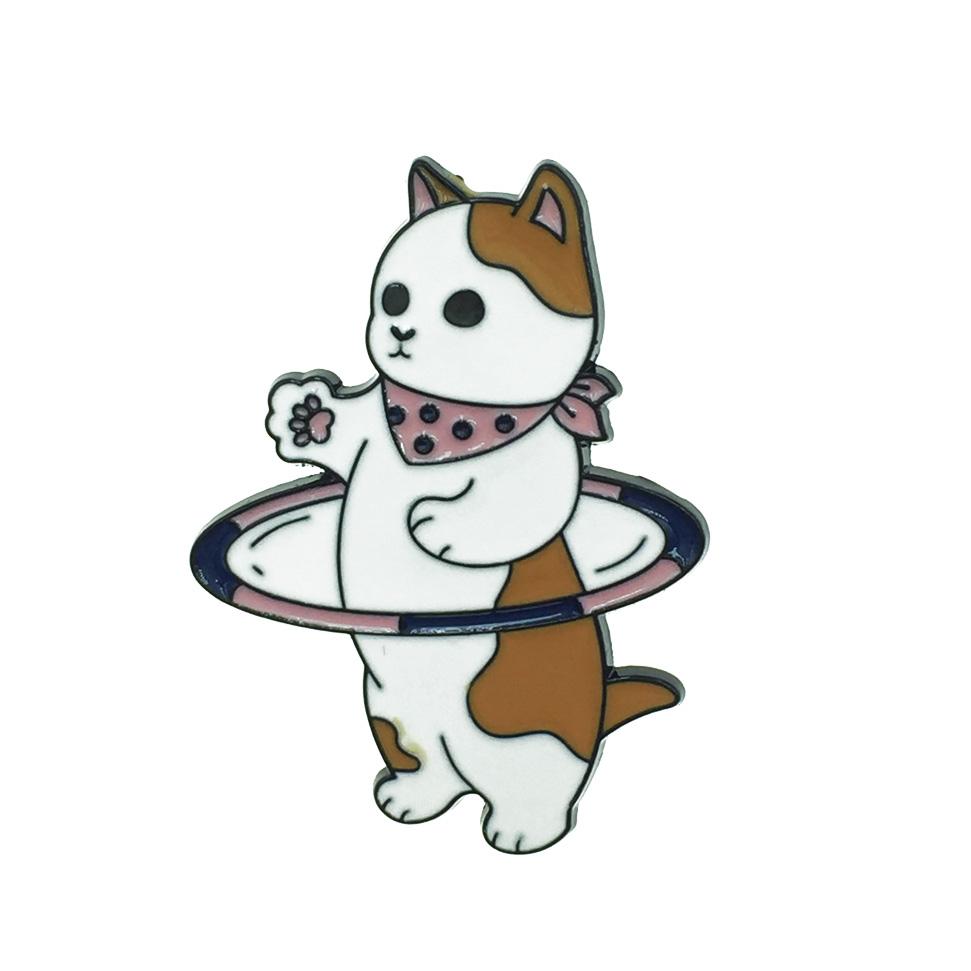 韓國 貓 呼拉圈 運動 別針
