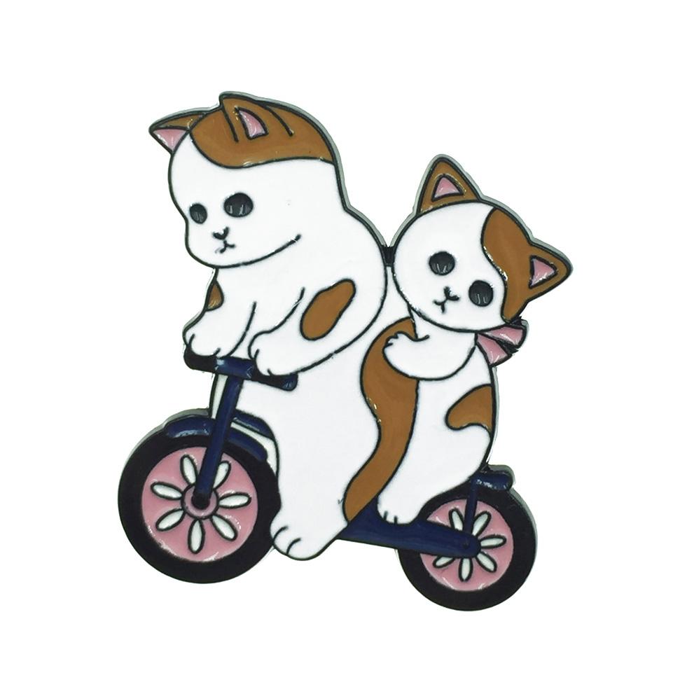韓國 貓咪 腳踏車 別針 衣帽針