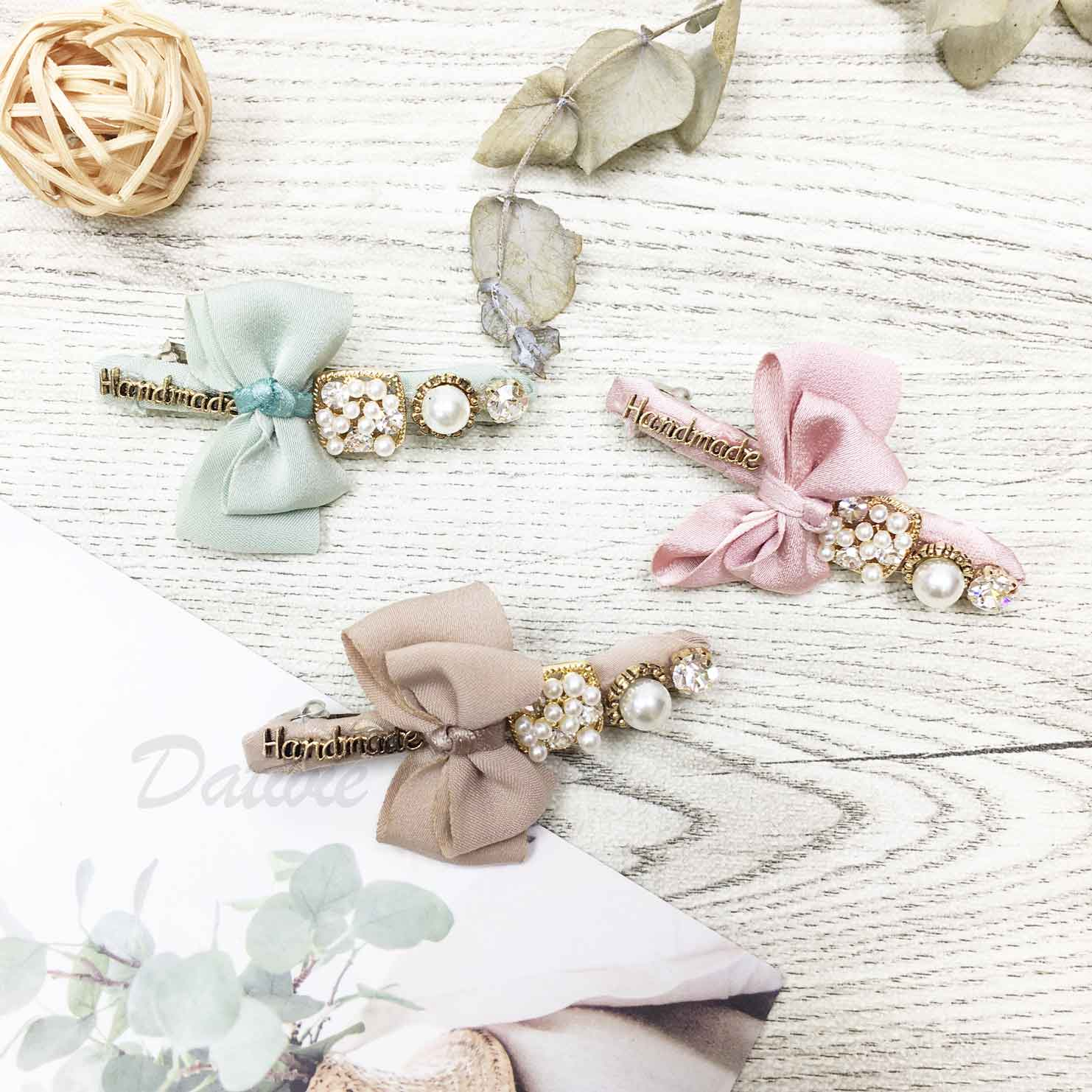 水鑽 珍珠 蝴蝶結 自動夾 髮飾
