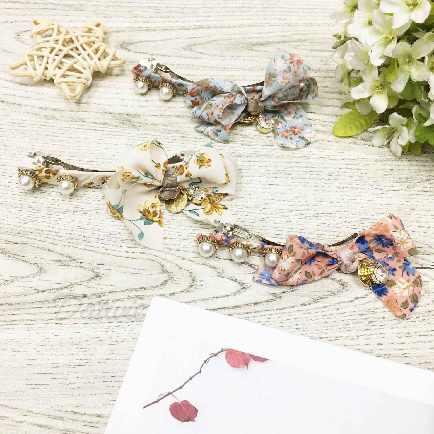 珍珠 花花 水鑽 自動夾 髮飾