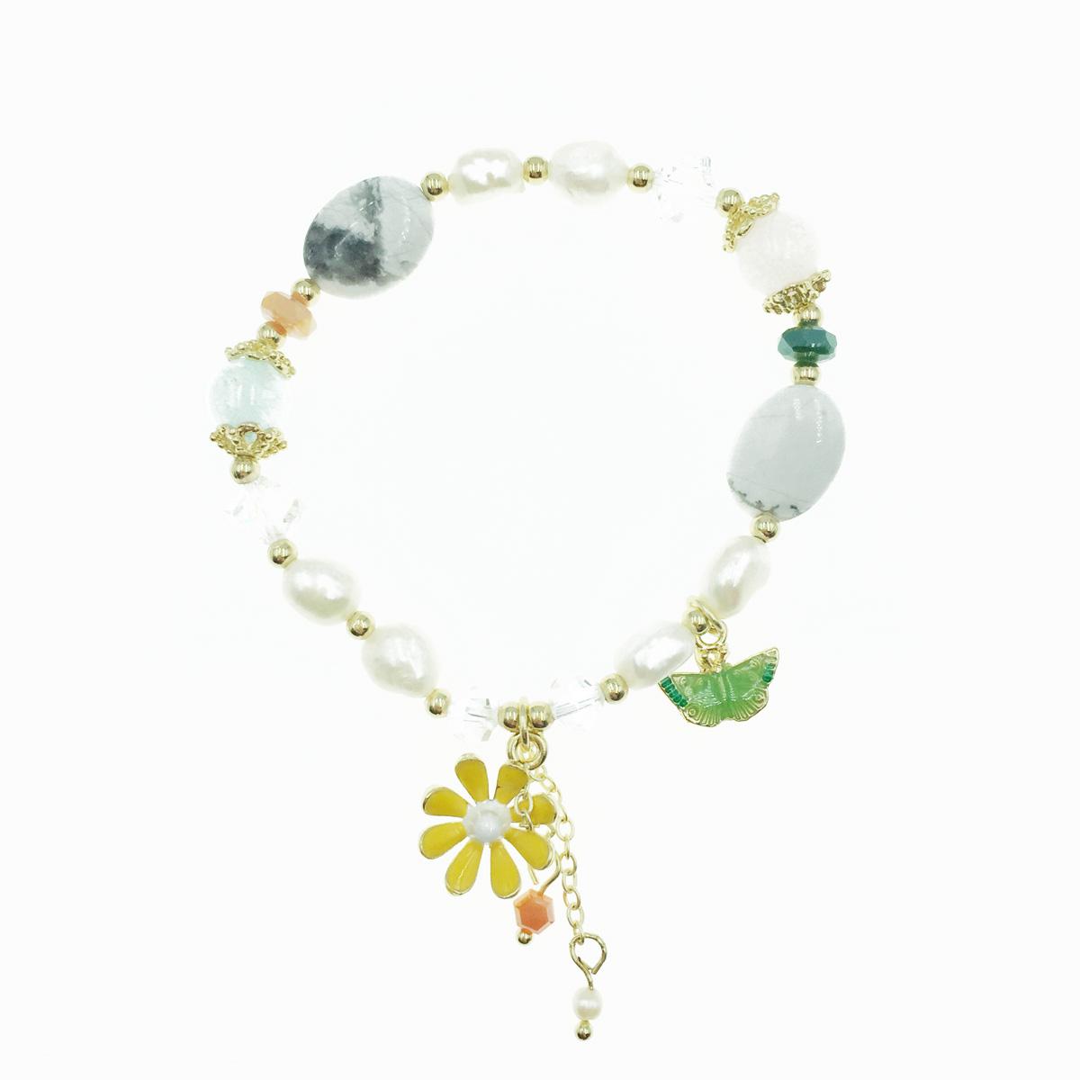 韓國 花 串珠 蝴蝶 墜飾 手鍊