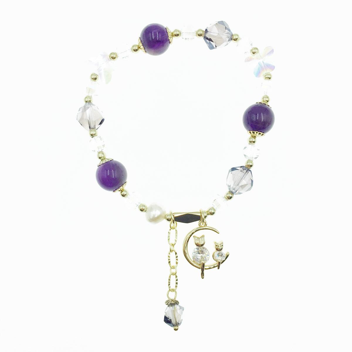 韓國 貓 水鑽 月亮 蝴蝶 水晶 珠珠 墜飾 手鍊