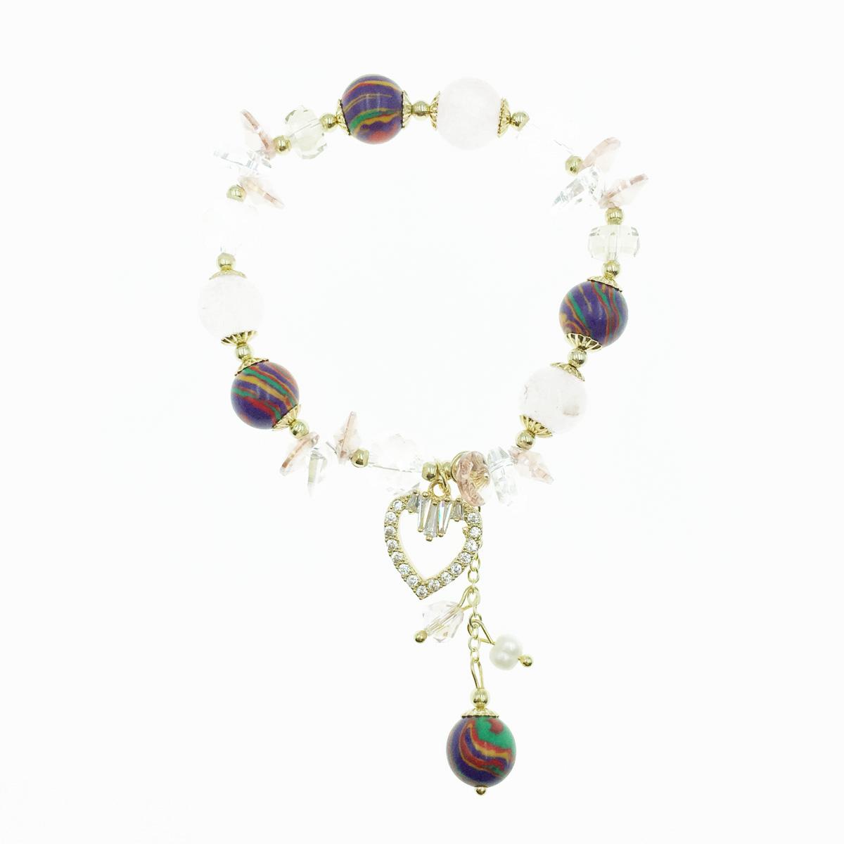 韓國 愛心水鑽 水晶 串珠 墜飾 手鍊