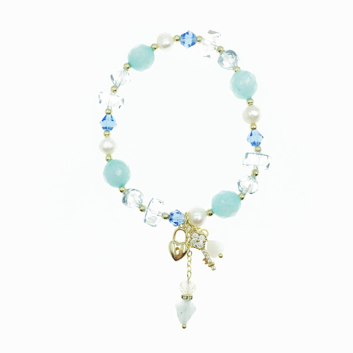 韓國 水鑽鑰匙 鎖 串珠 墜飾 手鍊