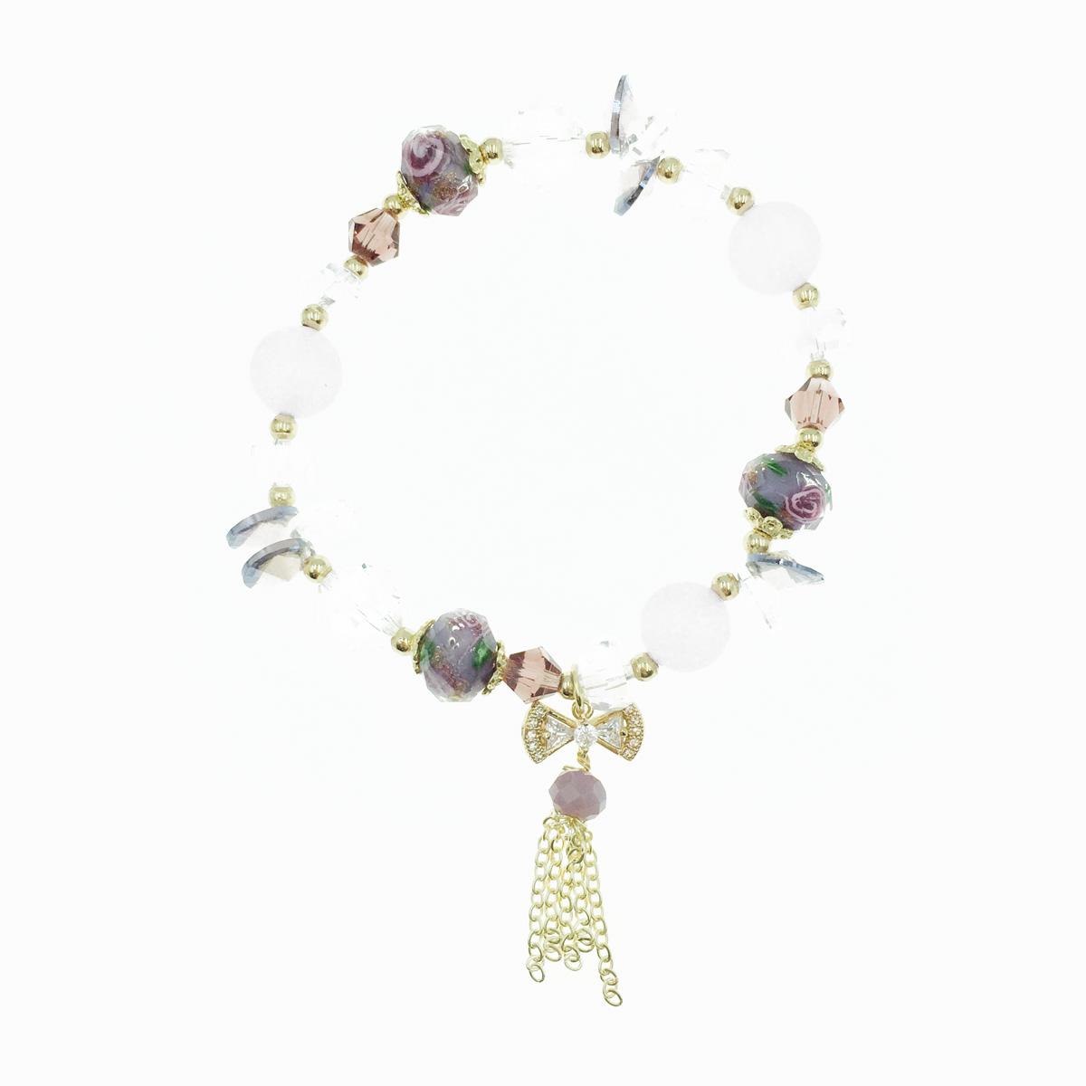 韓國 水晶 水鑽蝴蝶結 流蘇 墜飾 手鍊
