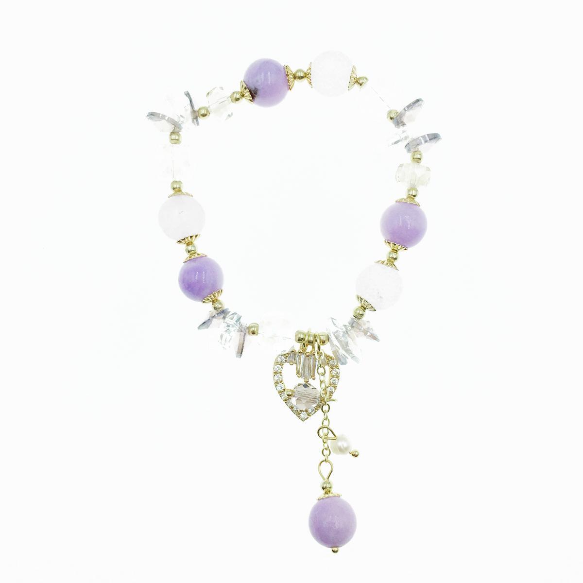韓國 珠珠 水晶 愛心水鑽 墜飾 手鍊