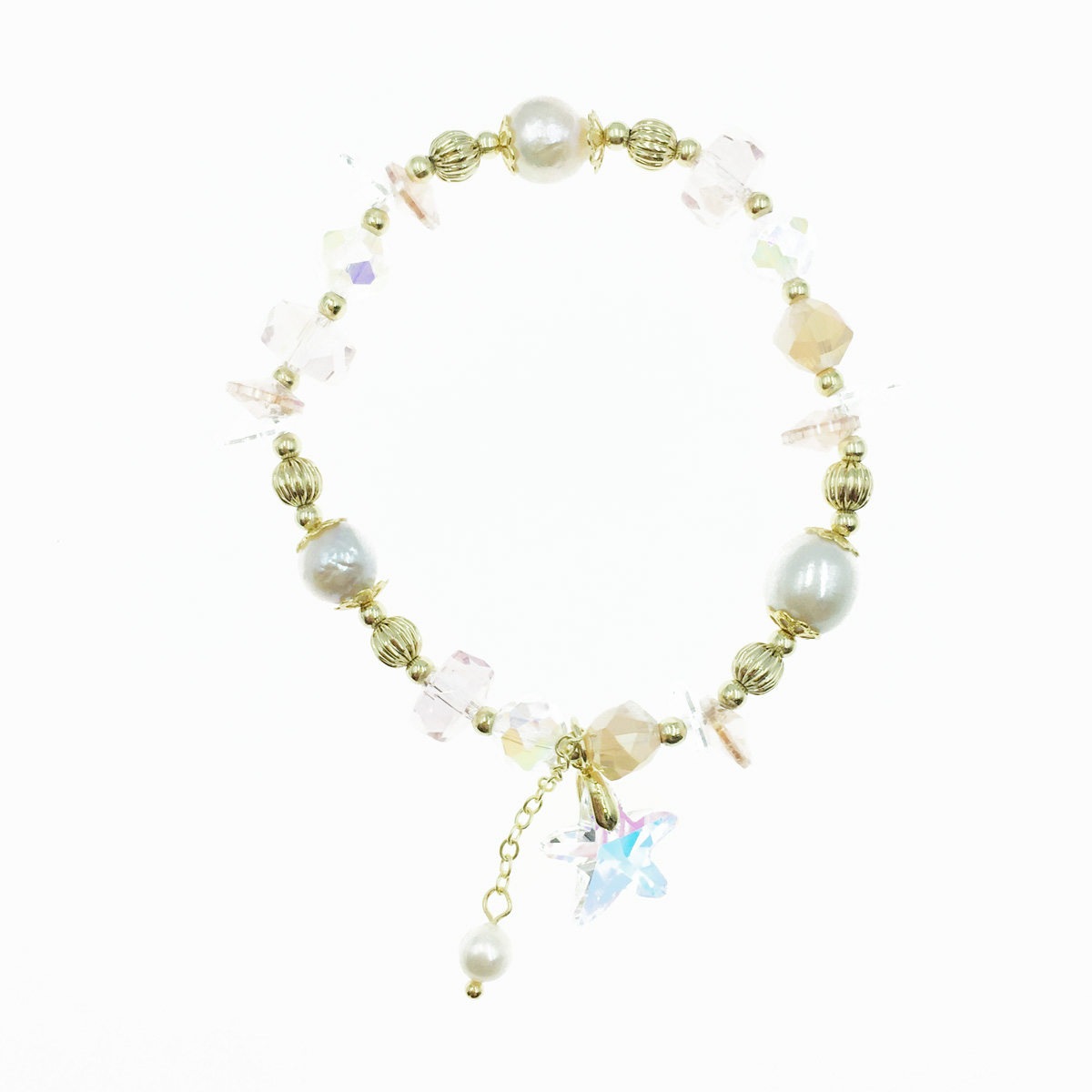 韓國 水晶 星星 串珠 彈性 墜飾 手鍊