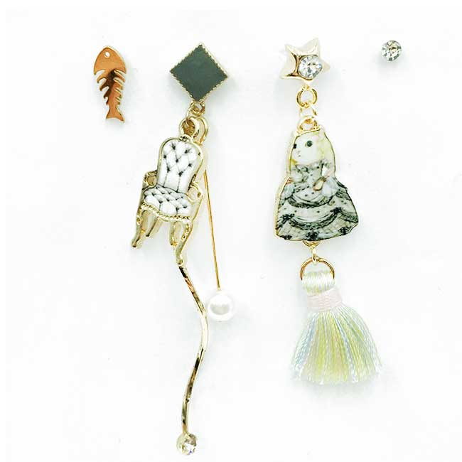 韓國 魚骨 貓咪 椅子 流蘇 珍珠水鑽 星星 四入組 耳針式耳環