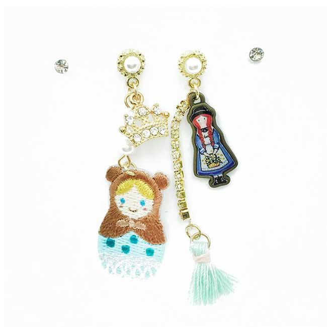 韓國 俄羅斯娃娃 水鑽珍珠 皇冠 流蘇 四入組 耳針式耳環