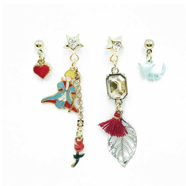韓國 愛心 小王子 葉子 花 星星 水鑽 四入組 垂墜感 耳針式耳環