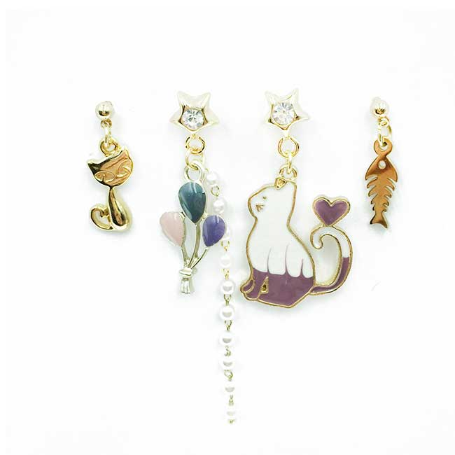韓國 貓咪 氣球 魚骨 星星水鑽 珍珠 四入組 垂墜感 耳針式耳環