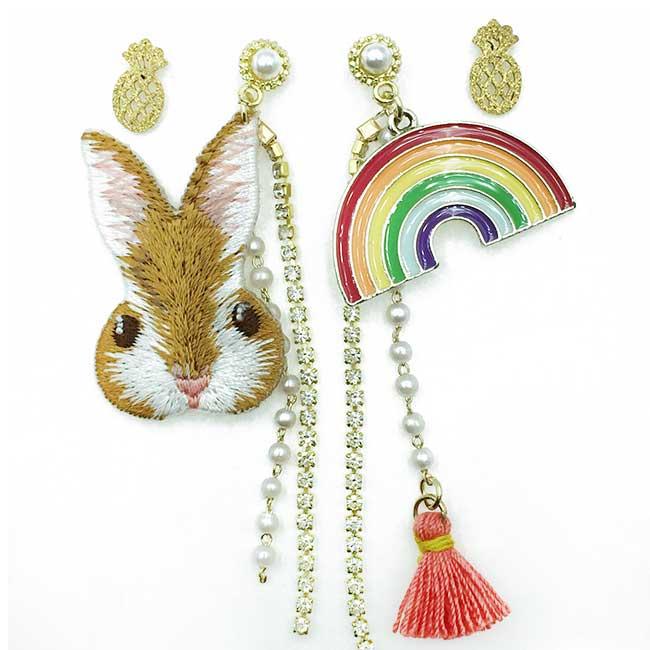 韓國 兔子 彩虹 鳳梨 珍珠水鑽 流蘇 四入組 垂墜感 耳針式耳環