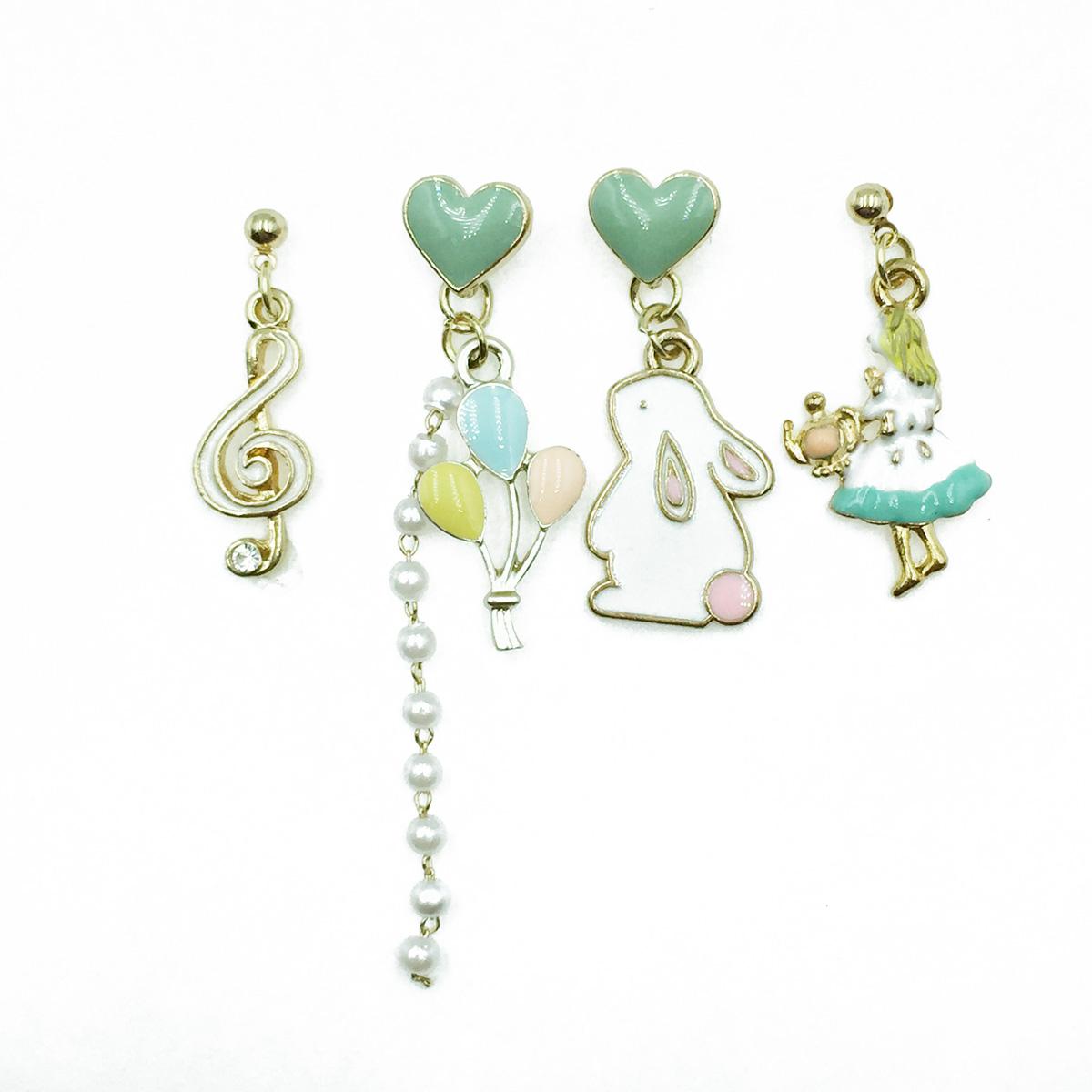 韓國 愛麗絲 兔子先生 氣球音符 愛心 珍珠 四入組 耳針式耳環
