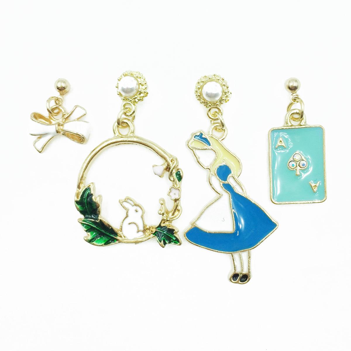 韓國 愛麗絲 蝴蝶結 撲克牌 珍珠 兔子 四入組 垂墜感 耳針式耳環