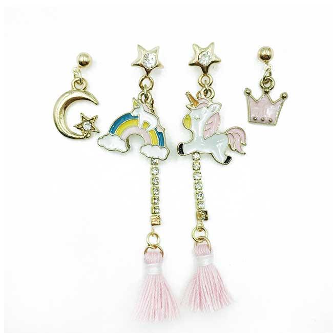 韓國 飛馬 彩虹 月亮星星 水鑽 四入組 垂墜感 耳針式耳環