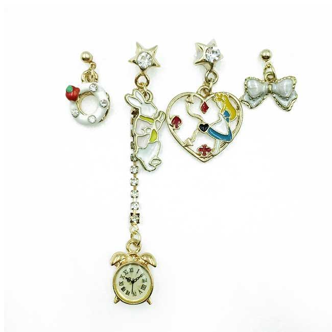 韓國 愛麗絲 兔子懷錶 星星水鑽 蝴蝶結 四入組 垂墜感 耳針式耳環