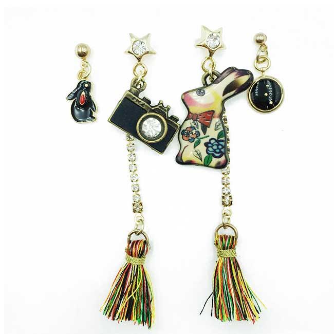 韓國 兔子 流蘇 相機 水鑽 星星 四入 垂墜感 耳針式耳環