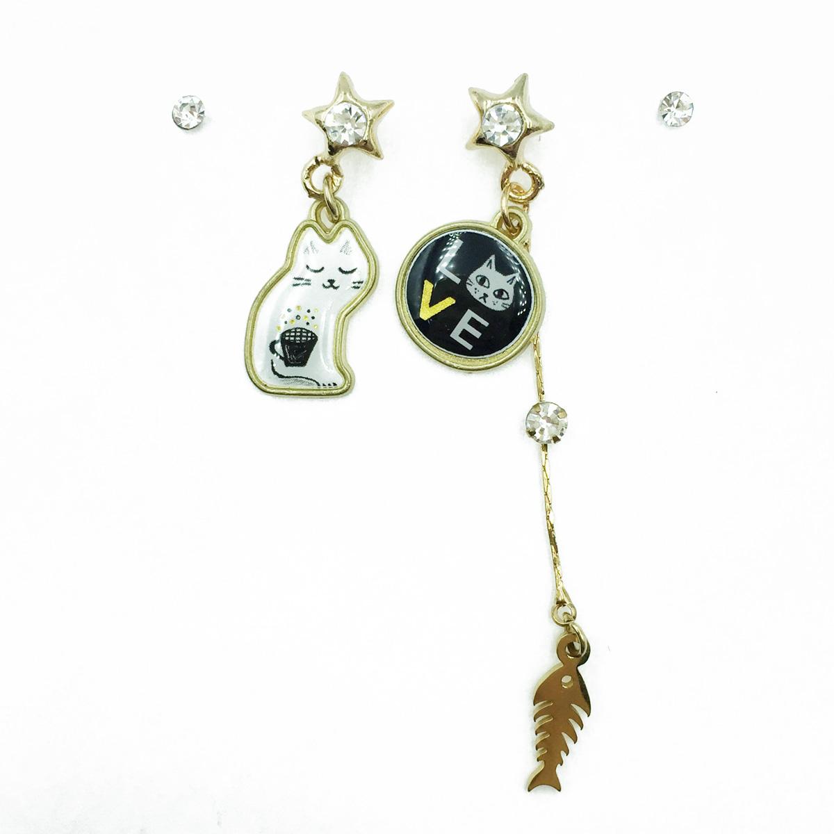 韓國 貓咪 LOVE 魚骨 星星水鑽 四入組 耳針式耳環